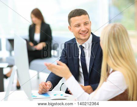 Businesspeople  Having Meeting In Office
