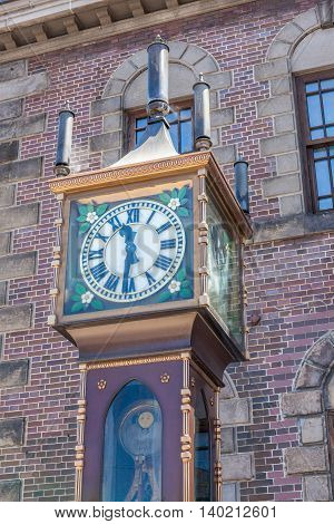 Otaru Hokkaido Japan: June 5 2016. The vintage steam clock tower in front of Otaru Music Box Museum. The steam clock was made by Canadian clock maker Raymond Sounders in 1977.