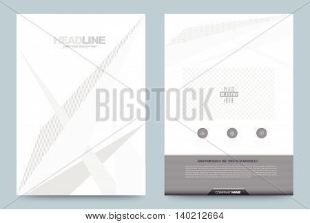 Gray Annual report brochure flyer design template vector lines style Leaflet cover presentation abstract technology background layout in A4 size. Vector illustration.