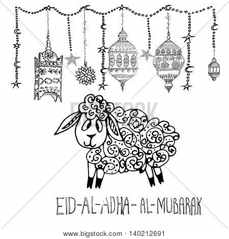Hand drawn vector of Eid Al Adha Mubarak. Festival of Sacrifice. Famous festival of Muslim community celebration.