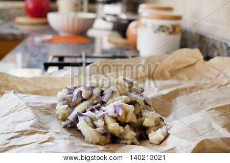 steamed aubergines as ingredient to prepare fried croquettes