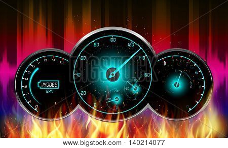 Illustration of Speedometer, tachometer, fuel and temperature gauge in fire