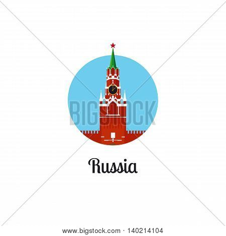 Russia landmark isolated round icon. Vector illustration