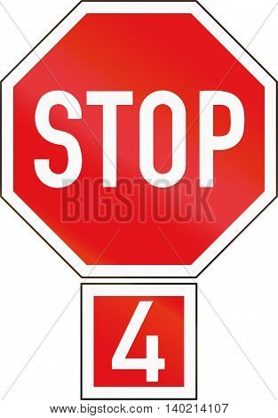 Road Sign Used In The African Country Of Botswana - Stop (4-way)