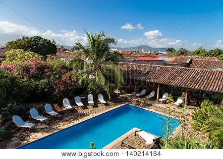 colonial garden view with pool from Nicaragua