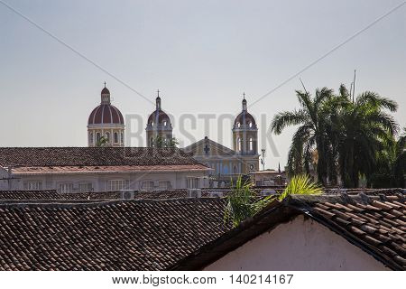 granada Nicaragua Typical roof view with the cathedral