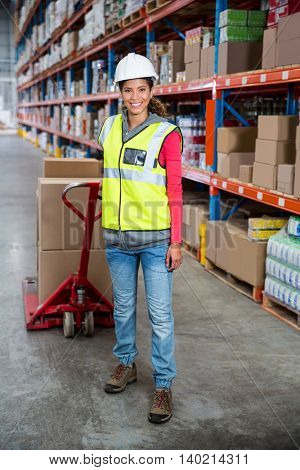 Worker posing with trolley in a warehouse