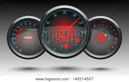 Speedometer, tachometer, fuel and temperature gauge on a black background