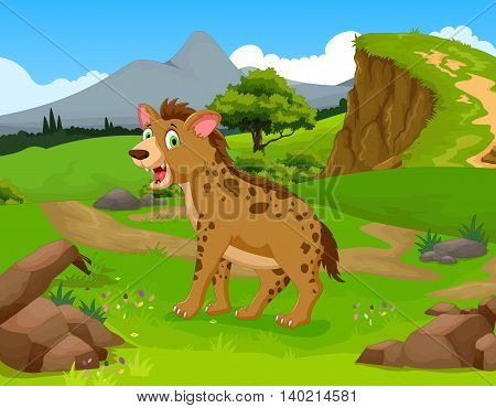 funny hyena cartoon in the jungle with landscape background