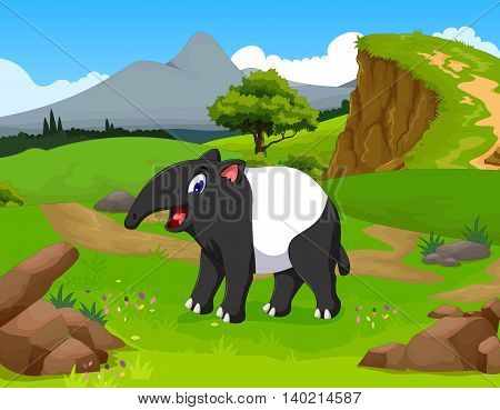 funny tapir cartoon in the jungle with landscape background