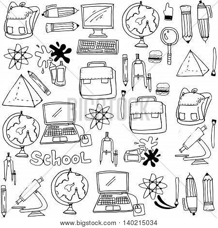 School supplies doodles collection stock vector illustration