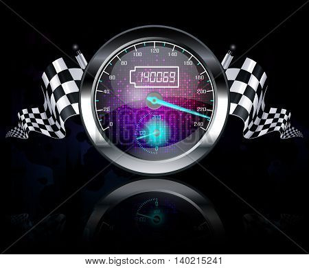Illustration of Speedometer and checkered flags on black background