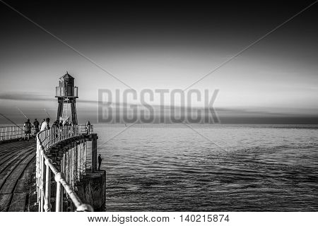 Whitby pier seascape in Yorkshire England UK