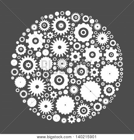 Cog wheels arranged in circle shape. White abstract vector illustration on grey background.