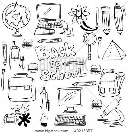 Doodle of hand draw school supplies illustration