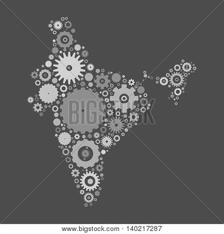 India map silhouette mosaic of cogs and gears. Grey vector illustration on gray background.