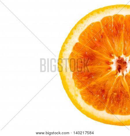 Half orange slice isolated on white background.
