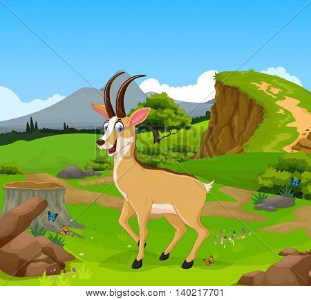 funny chamois cartoon with beauty cliff mountain landscape background