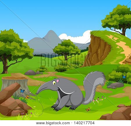 funny anteater with beauty forest landscape background