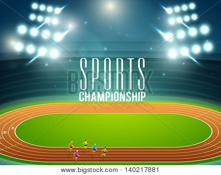 Illustration of runners on running track at shining stadium for Sports Championship concept.