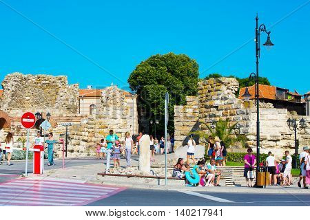 Nessebar, Bulgaria - July 25, 2016: People at the entrance of old town Nessebar or Nesebar in Bulgaria, Black sea