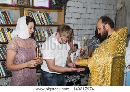Baby Baptism In Church Of Village Viaz In Kirov