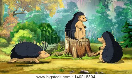Hedgehog's family on a sunny forest glade in a morning. Digital painting cartoon style full color illustration.