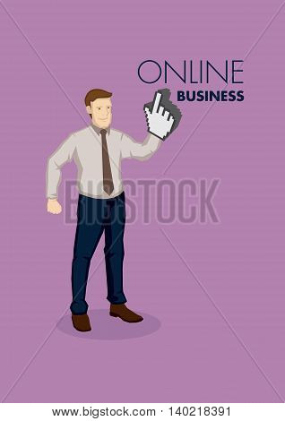 Cartoon business professional with digital finger click symbol on hand. Vector illustration for online business concept isolated on purple background with text.