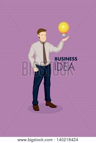 Cartoon business professional with incandescent light bulb on hand. Vector illustration for business idea concept isolated on purple background.
