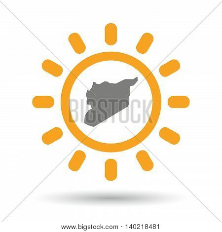 Isolated Line Art Sun Icon With  The Map Of Syria
