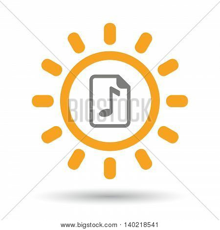Isolated Line Art Sun Icon With  A Music Score Icon