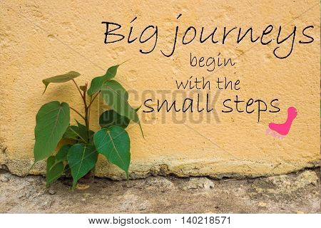 Word  Big Journeys Begin With The Small Steps.inspirational Motivational Quote On Old Stone Wall Wit