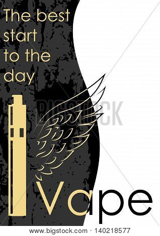 Sticker or card advertising vaping. Can be used as logo