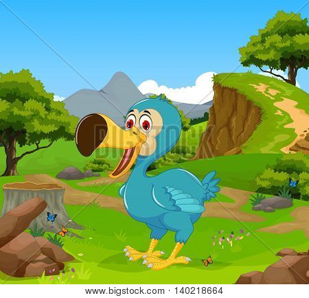 funny dodo bird cartoon in the jungle with landscape background