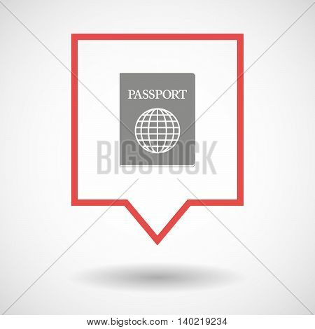 Isolated Line Art Tooltip Icon With  A Passport