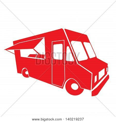 Food delivery truck, isolated on white background, vector
