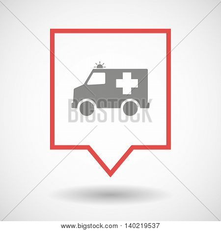 Isolated Line Art Tooltip Icon With  An Ambulance Icon