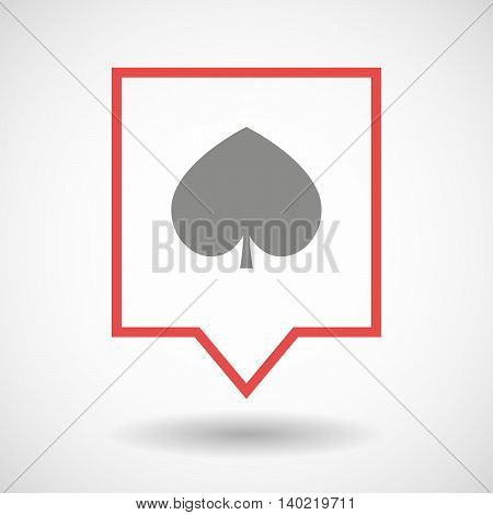 Isolated Line Art Tooltip Icon With  The Heart Poker Playing Card Sign