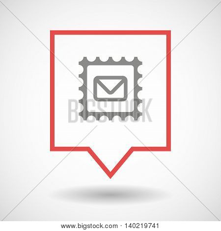 Isolated Line Art Tooltip Icon With  A Mail Stamp Sign
