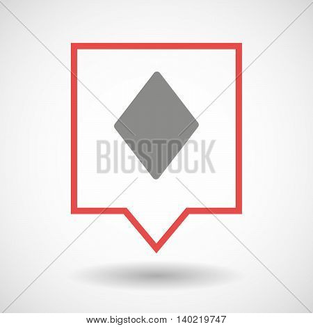 Isolated Line Art Tooltip Icon With  The  Diamond  Poker Playing Card Sign