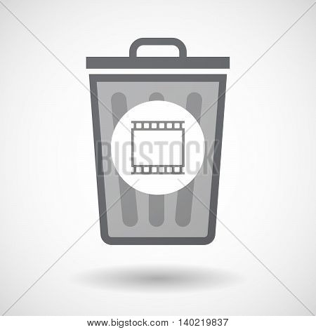 Isolated Trash Can Icon With   A Photographic 35Mm Film Strip