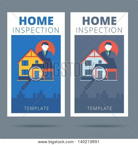 Home inspection vector business card concept design. Real estate appraisal service business banner