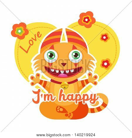 Cute Happy Kitty. Colorful Vector. Lucky Cartoon Mascot. Funny Theme For Kids T-Shirt Design. Monsters University. Funny Fantastic Animals.