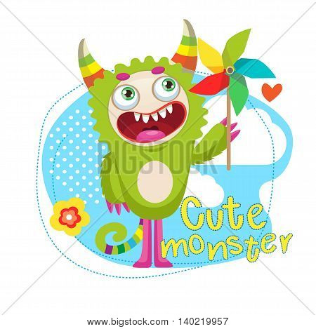 Cute Animal Vector Illustration. Cartoon Beast Mascot. Green Сreature With Color Pinwheel. Funny Fantastic Spirit. Monsters University.