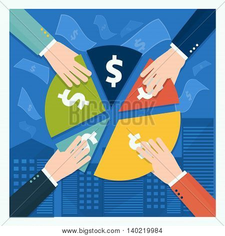 Business shareholder concept in flat style. Vector illustation of businessmen hands take away part of income or share in company
