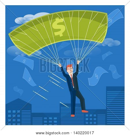 Businessman flying with dollar parachute over the city. Business success or money-making vector concept illustration.