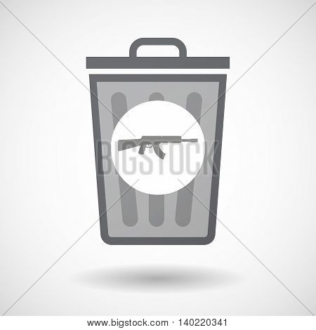 Isolated Trash Can Icon With  A Machine Gun Sign