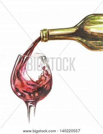 Painted watercolor glass pouring with red wine. Restaurant decoration. Sommelier concept. isolated on white