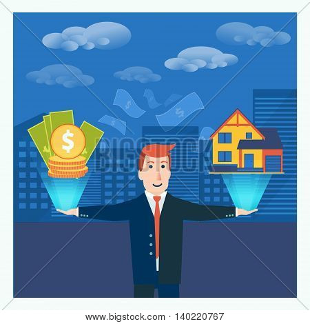 Businessman or broker balancing money and house in his hands. Real estate business conceptual vector illustration.
