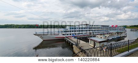 UGLICH RUSSIA - JULY 19 2016: Unidentified people are near cruise ship
